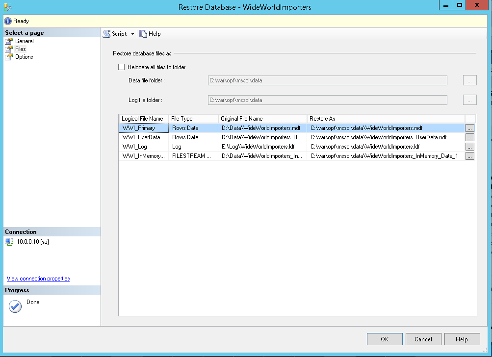 vNext Database Restore Files Overview